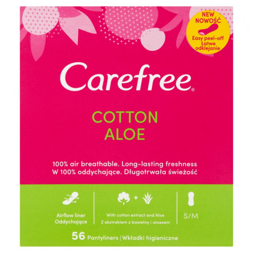 CAREFREE COTTON ALOE ščitniki perila, 56 kos C52481