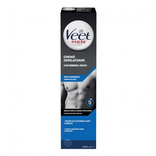 Veet Moška krema za depilacijo za občutljivo kožo Silk & Fresh, 200 ml C54752